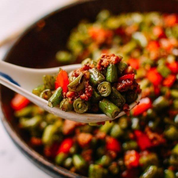 Chinese Stir-fried Green Beans with Pork, thewoksoflife.com