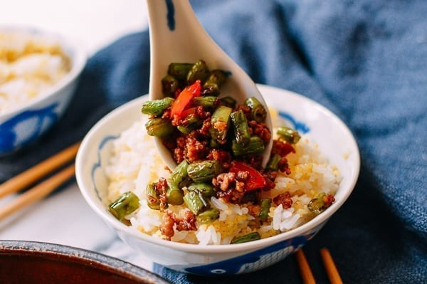Serving Green Bean Stir-fry with Rice, thewoksoflife.com