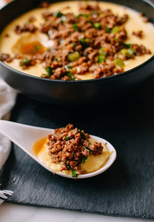 Spoonful of steamed eggs with pork, thewoksoflife.com