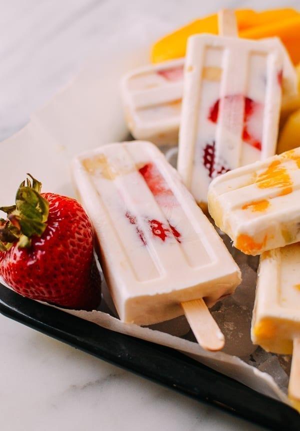Strawberry Banana Yogurt Popsicle, thewoksoflife.com