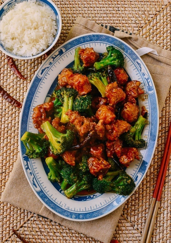 Plate of General Tso's Chicken with Broccoli, thewoksoflife.com