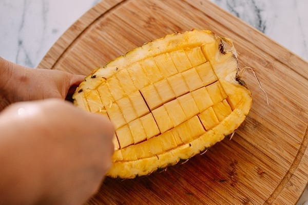 How to hollow out a pineapple, thewoksoflife.com