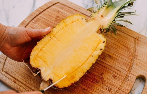hollowing out a pineapple, thewoksoflife.com