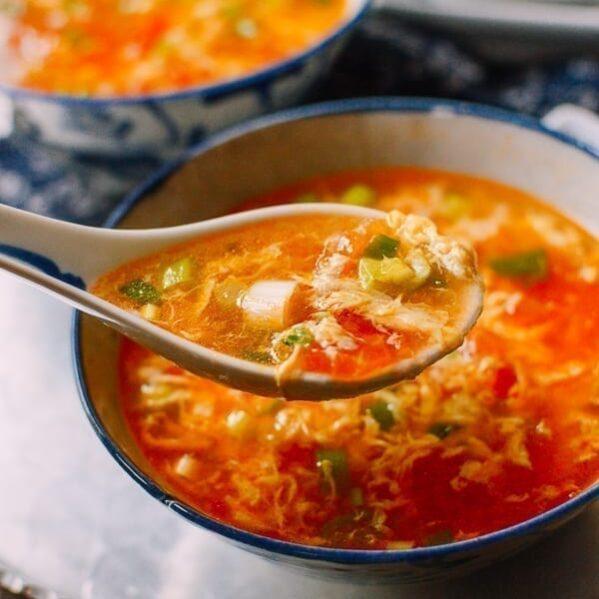 Spoonful of tomato egg drop soup, thewoksoflife.com
