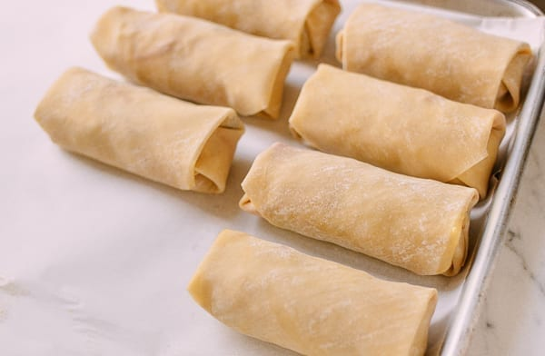 Wrapped Egg Rolls before cooking, thewoksoflife.com