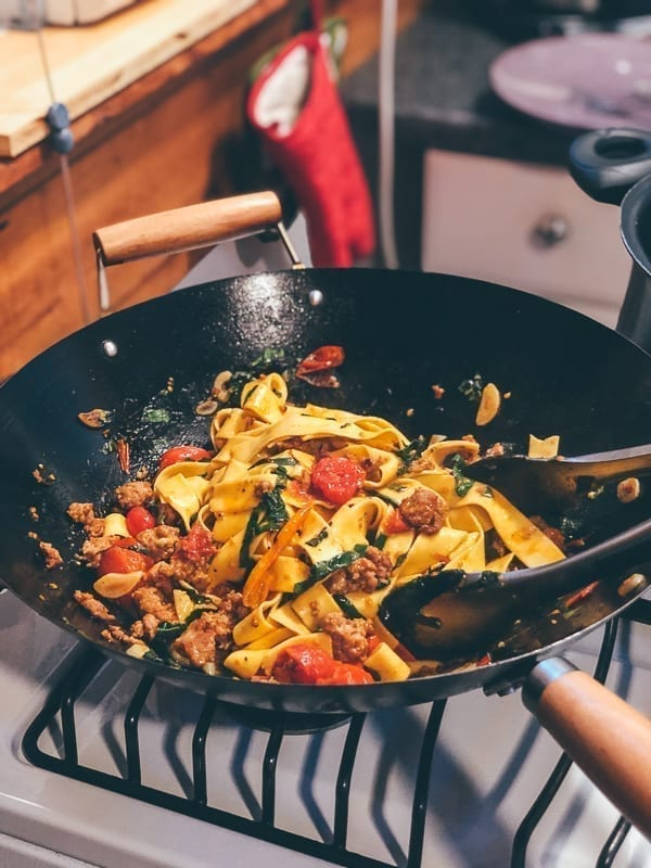 Cooking pappardelle in a wok, thewoksoflife.com