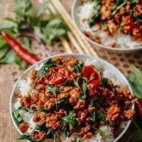 Thai basil chicken over rice