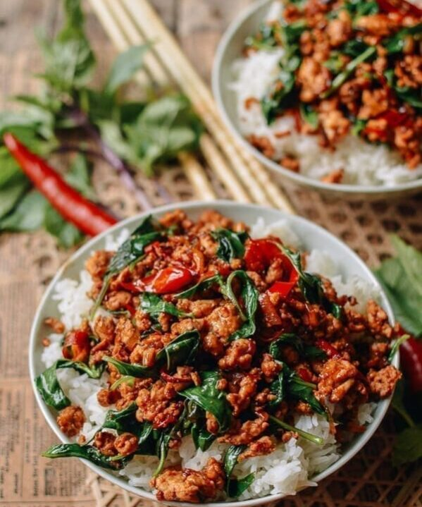 Thai basil chicken over rice