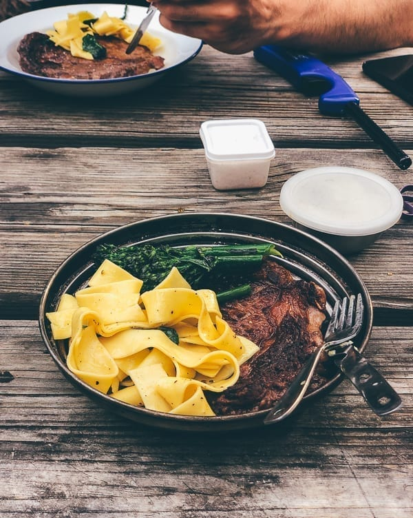 Steak, buttered noodles, and broccolini, thewoksoflife.com