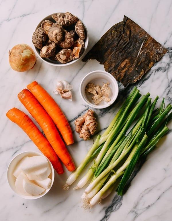 Asian vegetable stock ingredients, thewoksoflife.com