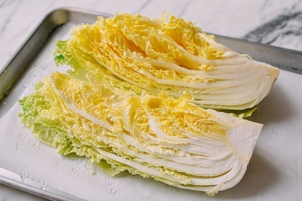 Napa cabbage on sheet pan, thewoksoflife.com