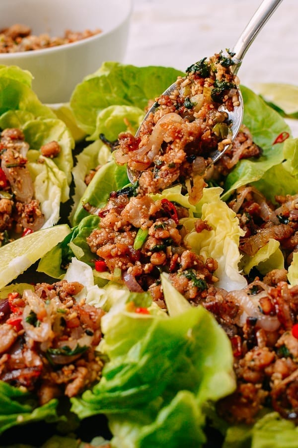 Chicken larb lettuce wraps, thewoksoflife.com