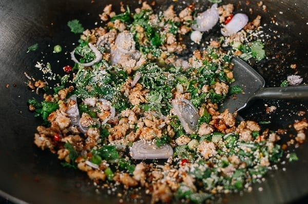 Stir-frying larb meat salad, thewoksoflife.com