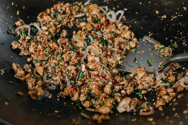 Larb in wok, thewoksoflife.com