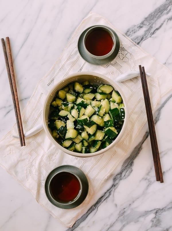 Chinese marinated cucumbers with garlic, thewoksoflife.com