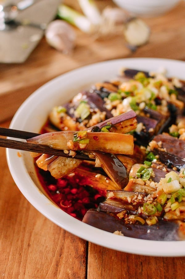 Steamed Chinese Eggplant with Spicy Sauce, thewoksoflife.com