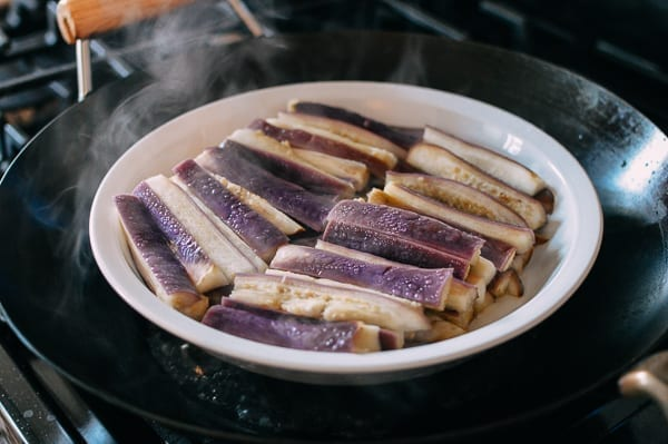 Steamed eggplant that's still purple, thewoksoflife.com