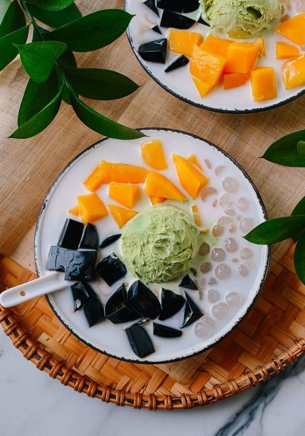 Grass Jelly with Green Tea Ice Cream, Tapioca and mango, thewoksoflife.com