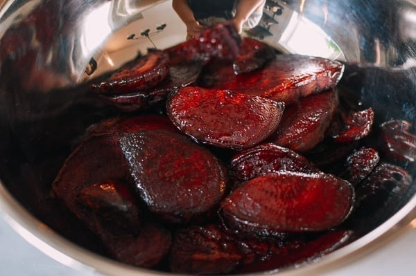 Roasted Beets in mixing bowl, thewoksoflife.com