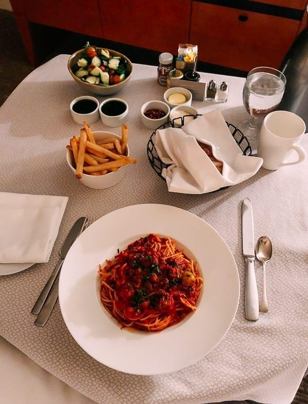Spaghetti Bolognese Room Service, thewoksoflife.com