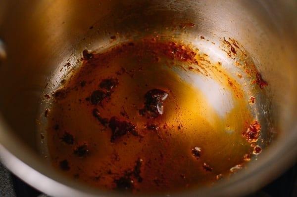 Frying doubanjiang in oil, thewoksoflife.com