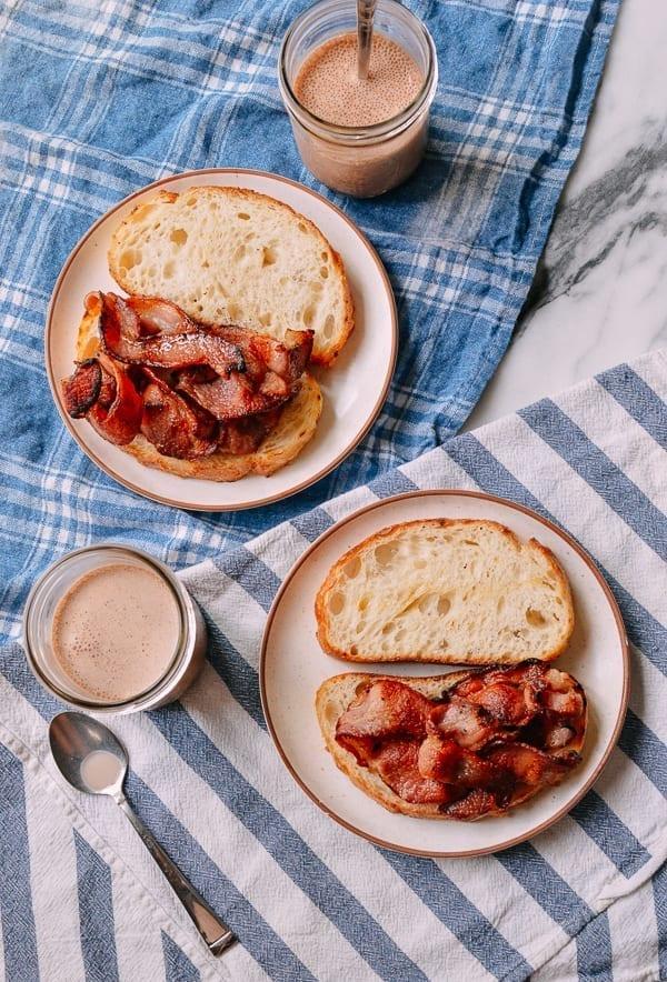 Bacon Sandwiches with Chocolate Milk, thewoksoflife.com