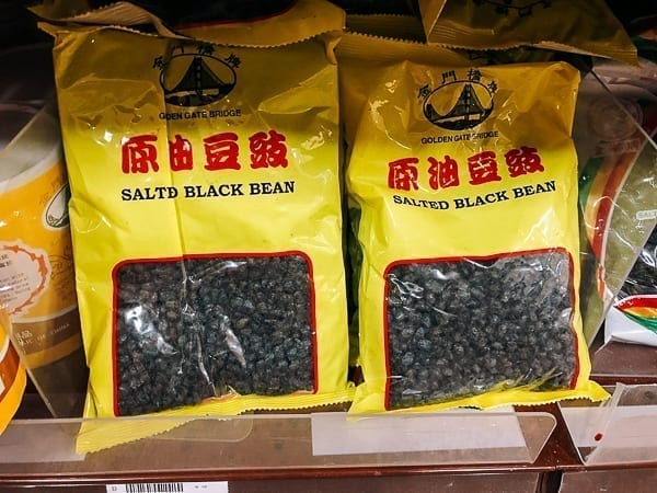 Bag of salted black beans on store shelf, thewoksoflife.com