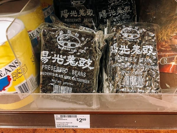 Fermented black beans with ginger in bag on store shelf, thewoksoflife.com