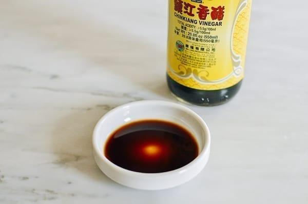 Chinese black vinegar in dish, thewoksoflife.com