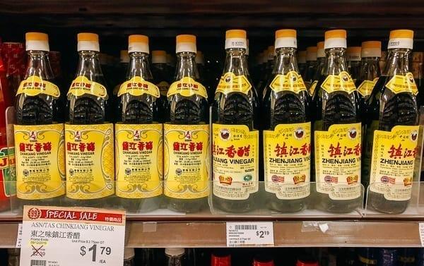 Bottles of Chinkiang and Zhenjiang vinegar on store shelf, thewoksoflife.com