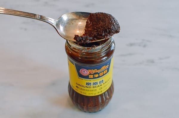 Spoonful of ground bean sauce, thewoksoflife.com