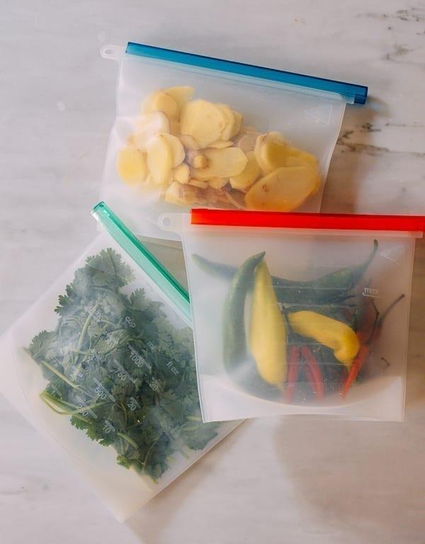 Aromatics in freezer bags, thewoksoflife.com