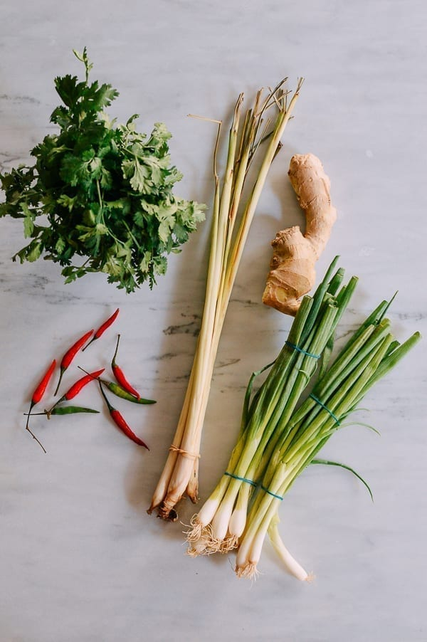 Cilantro, chilies, lemongrass, ginger, and scallions, thewoksoflife.com