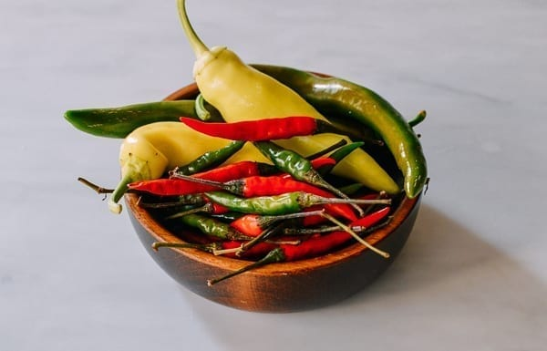 washed chilies ready to be frozen, thewoksoflife.com