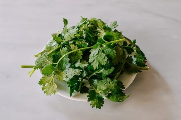 Clean cilantro on a plate, thewoksoflife.com