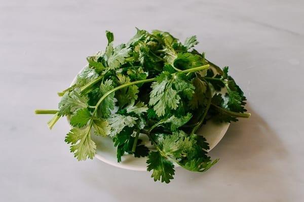 Clean cilantro on a plate, thewoksoflife.com