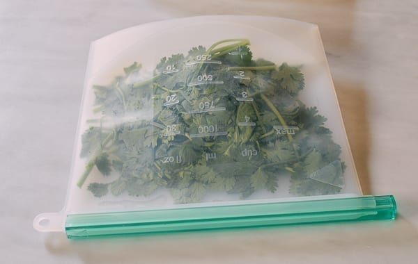 Cilantro in freezer bag, thewoksoflife.com