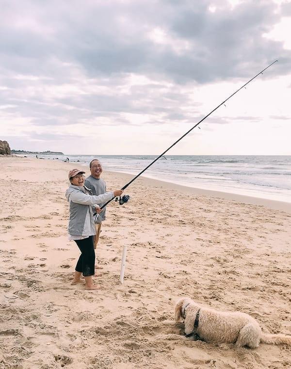 Bill and Kaitlin surf fishing, thewoksoflife.com