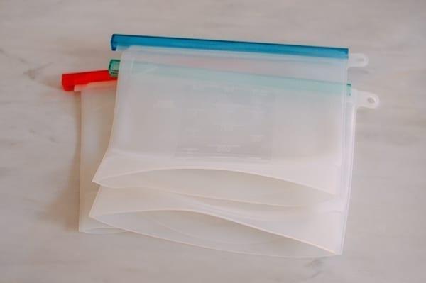 Reusable silicone freezer bags, thewoksoflife.com