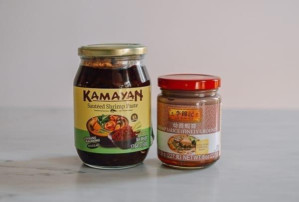 Shrimp Paste and shrimp sauce jars, thewoksoflife.com