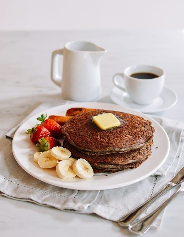 Stack of buckwheat pancakes with fruit, thewoksoflife.com