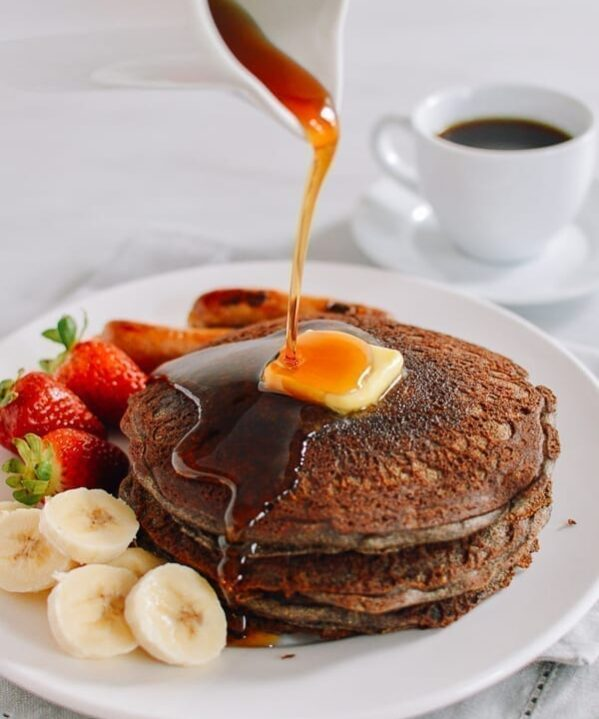 Buckwheat pancakes drizzled with maple syrup and butter, thewoksoflife.com