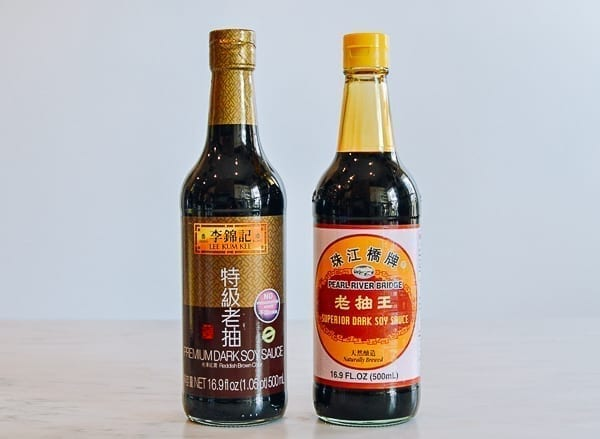 Lee Kum Kee Premium Dark Soy and Pearl River Bridge superior dark soy sauce, thewoksoflife.com