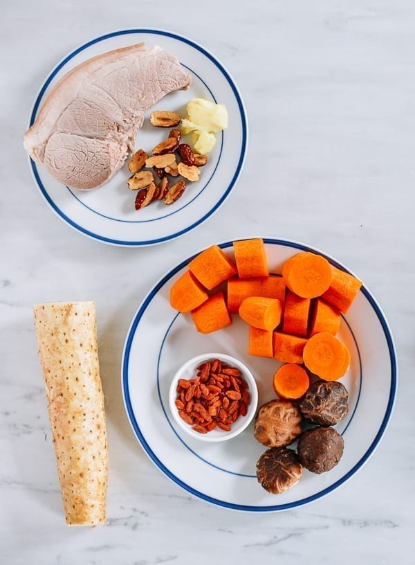Cantonese Pork, Carrot, and Chinese Yam Soup Ingredients, thewoksoflife.com