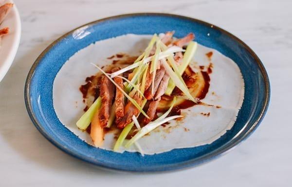 Mandarin pancake with fixings, thewoksoflife.com