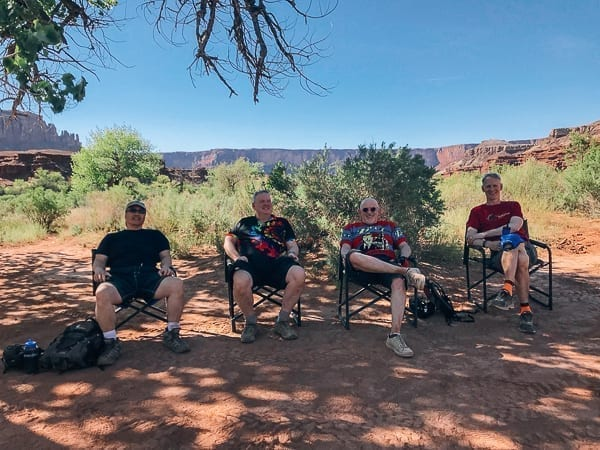 Mountain Bikers resting at Potato Bottom campground by thewoksoflife.com