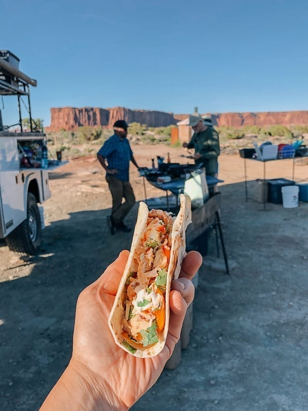 Chicken Quesadilla dinner at Murphy Hogback campground Canyonlands by thewoksoflife.com