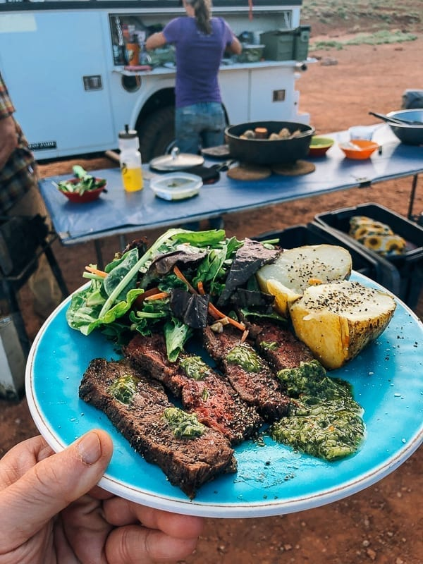 Steak Dinner at Airport Campground on White Rim trail by thewoksoflife.com
