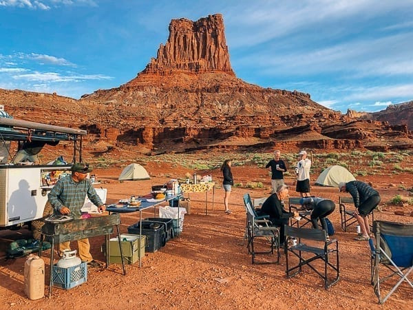Breakfast scene at Airport Campground on White Rim trail by thewoksoflife.com