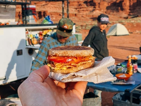 Breakfast sandwich at Airport Campground on White Rim trail by thewoksoflife.com